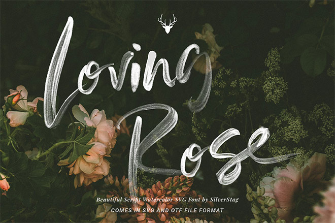 Loving Rose SVG Watercolor Font by SilverStag