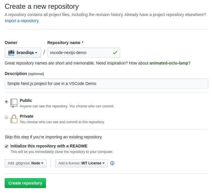 GitHub create project