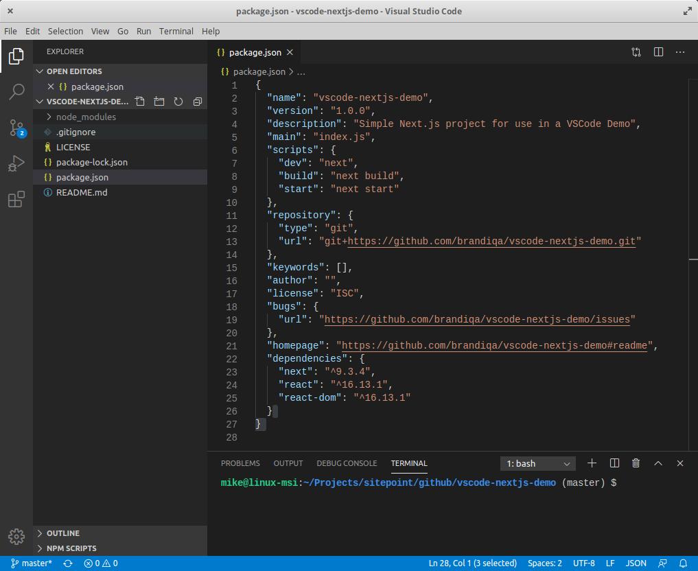VS Code run script