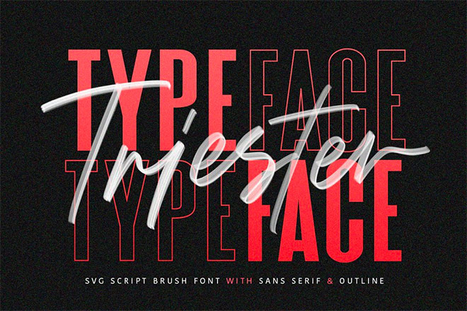 Triester SVG Brush Font by Maulana Creative