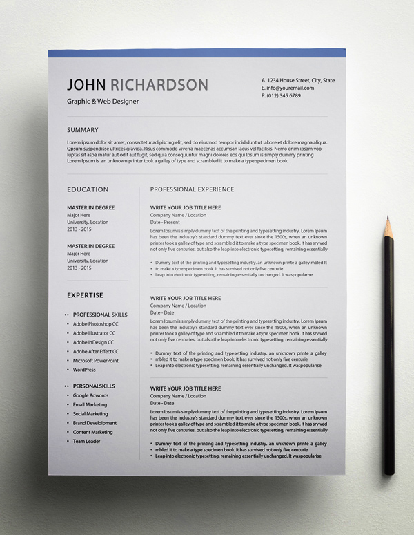 Freebie – Simple CV/Resume Template Page 1