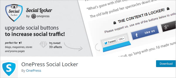 OnePress Social Locker social gateway plugin for WordPress.