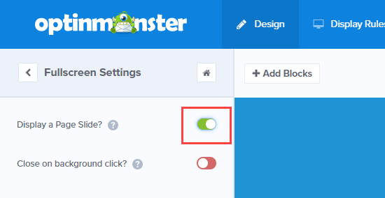 Editing the fullscreen settings