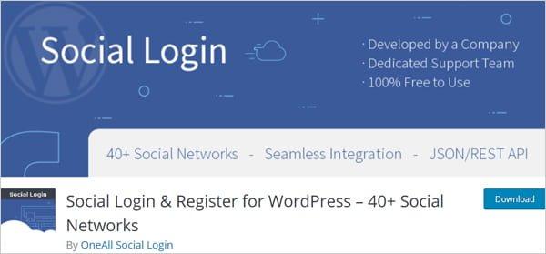 Social Login & Register for WordPress plugin.