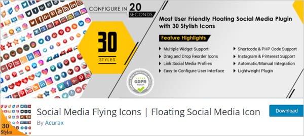 Social Media Flying Icons | Floating Social Media Icon WordPress plugin.