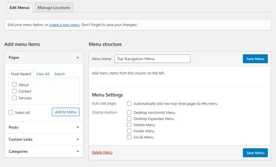 A newly created menu in WordPress