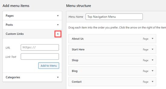 Adding a custom link to your navigation menu