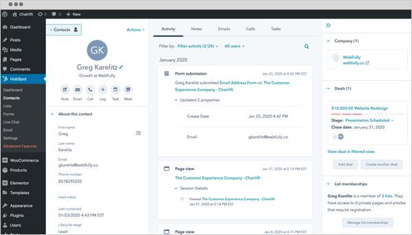 HubSpot WordPress plugin.