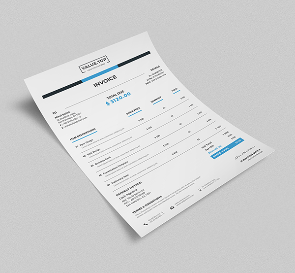 Free Isometric Invoice Mockup