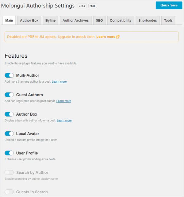 Molongui Authorship plugin settings screen.