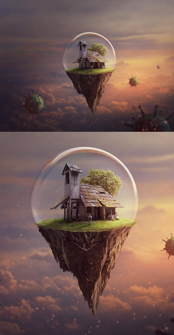 Floating Island Photo Manipulation Photoshop Tutorial Composite