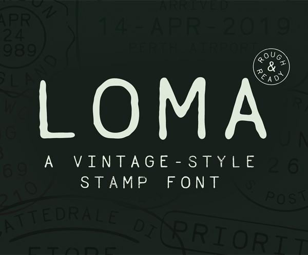 Loma Vintage Stamp Free Font