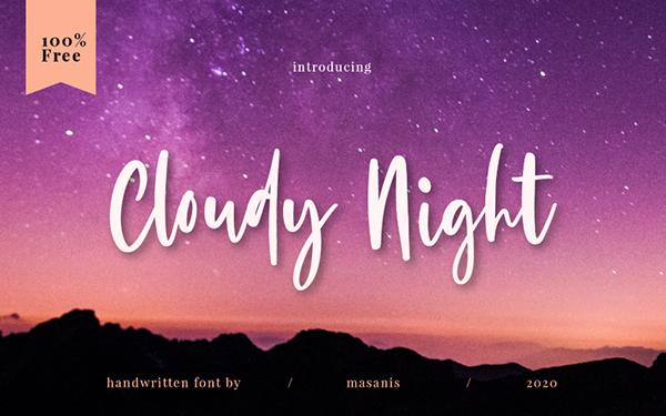 Cloudy Night Hand Written Script Free Font