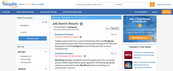 Flexjobs homepage.