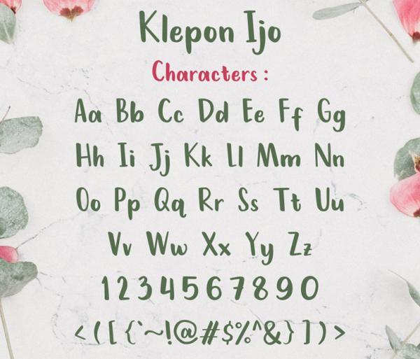 Klepon Ijo Handwritten  Free Font Letters