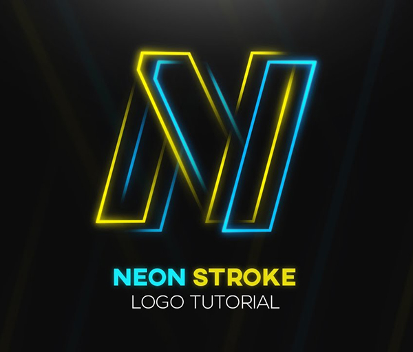 Create Neon Stroke Logo Design in Photoshop CC Tutorial