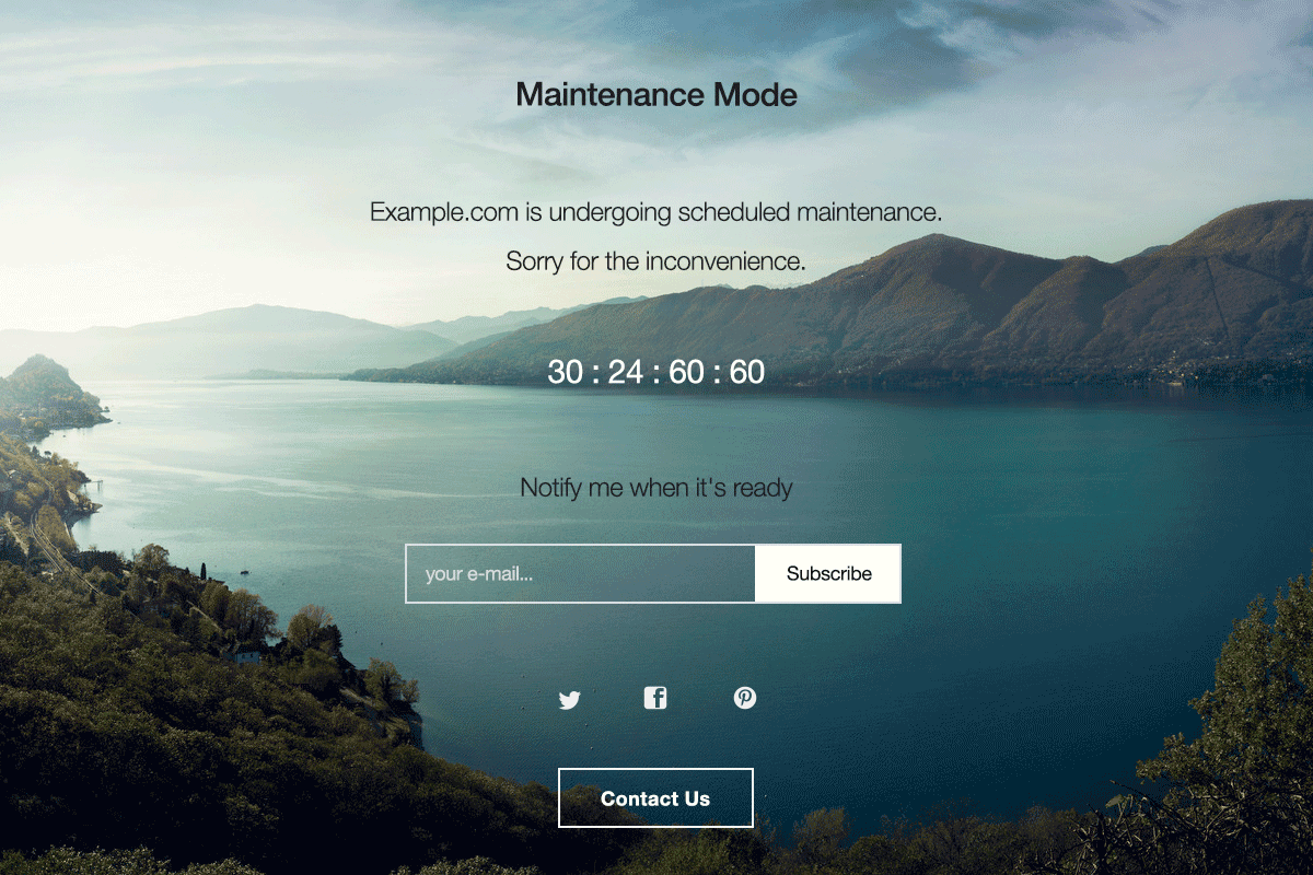 A splash page example using the free WP Maintenance Mode plugin.