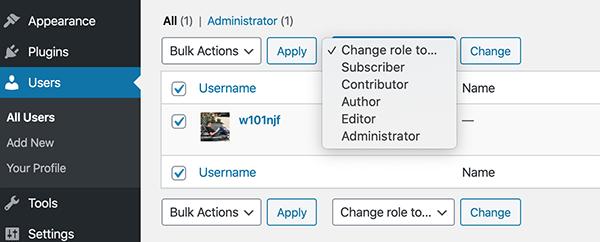 The dropdown to change roles in WordPress' admin.