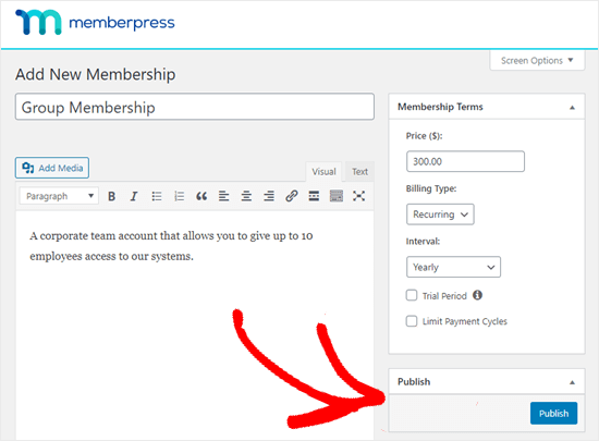 Publish the new membership when you're ready