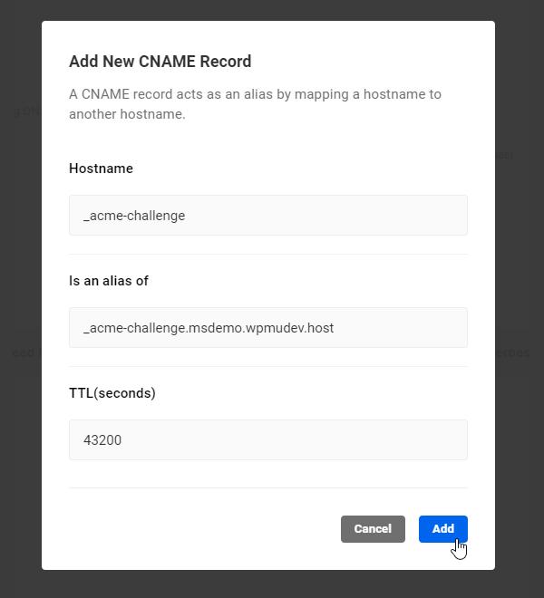 Add New CNAME Record screen