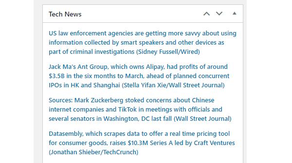 Screenshot of an example dashboard feed full of tech news.